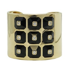 Maria Canale Yellow Gold Pyramid Collection Cuff with Diamonds