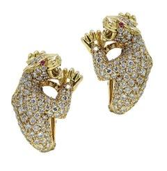 Carrera y Carrera Yellow Gold Panther Diamond Earrings