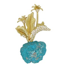 Henry Dunay Yellow Gold Rough Turquoise and Diamond Flower Pin