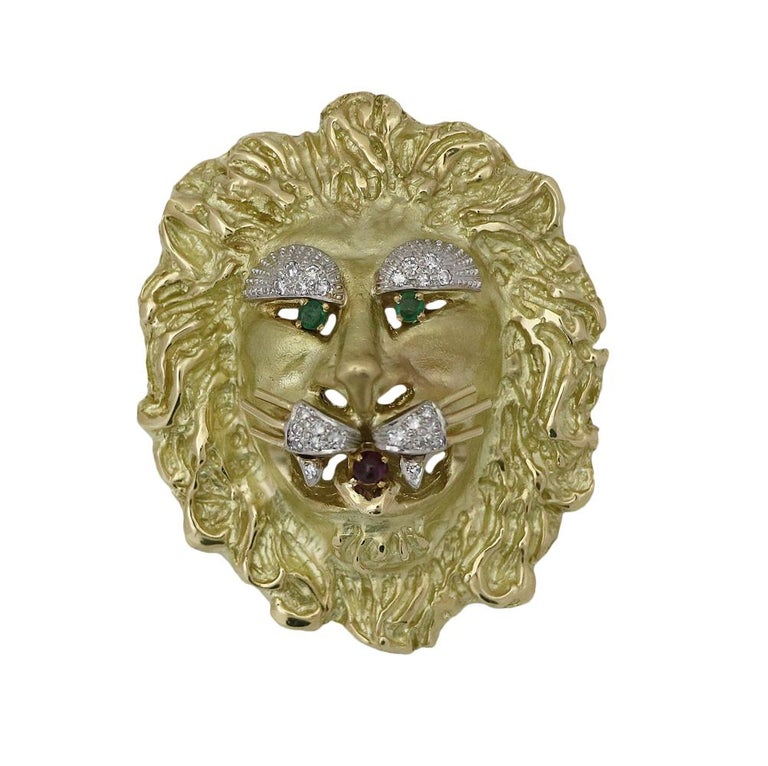 Yellow and White Gold Lion Head Pendant Brooch