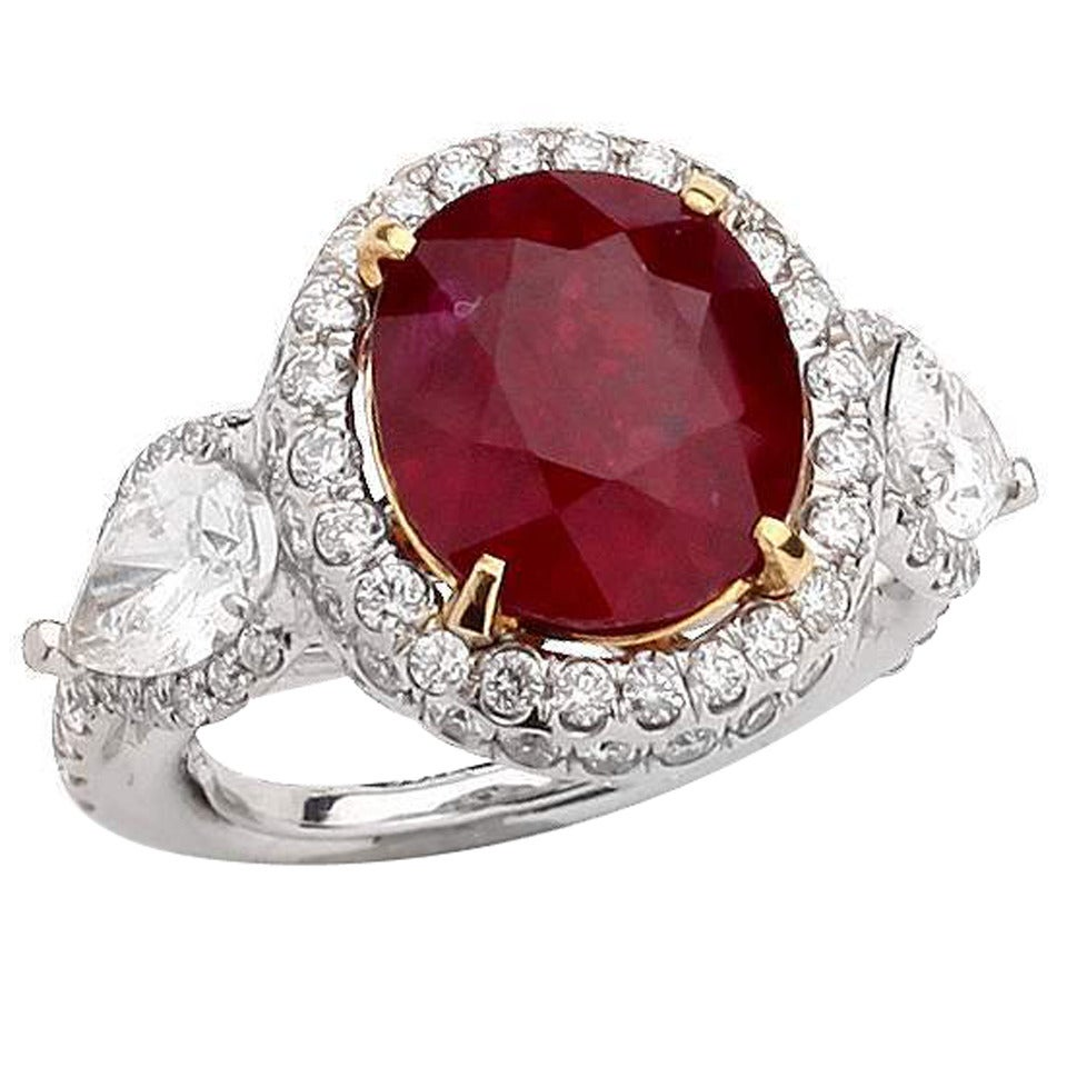 854 Carat Mozambique Ruby Diamond Gold Ring 1