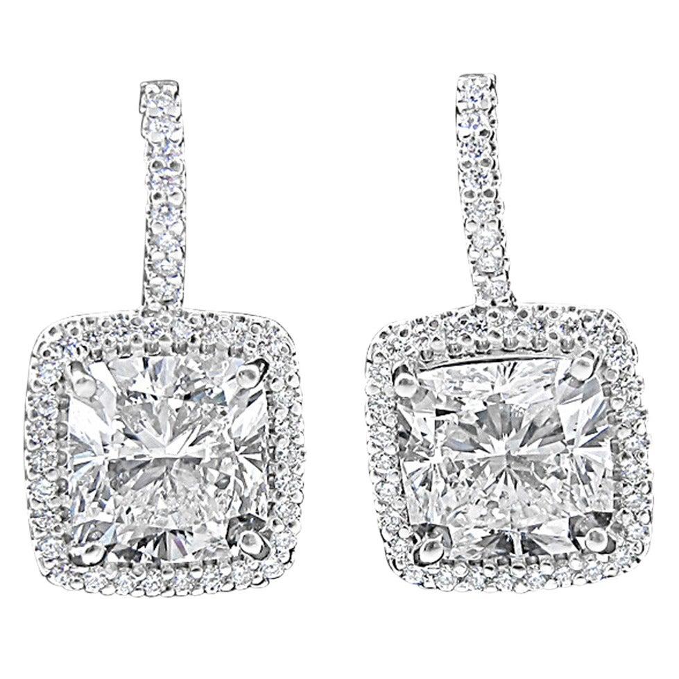 GIA Report 13.88 Carats Cushion Cut Diamonds Gold Halo Earrings