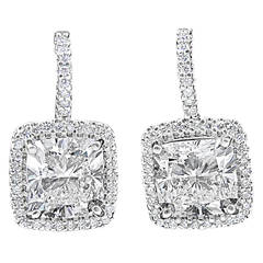 GIA Report 13.88 Carats Cushion Cut Diamonds Gold Halo Earrings