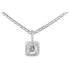 GIA Report 8.03 Carat Cushion Cut Diamond Gold Halo Pendant
