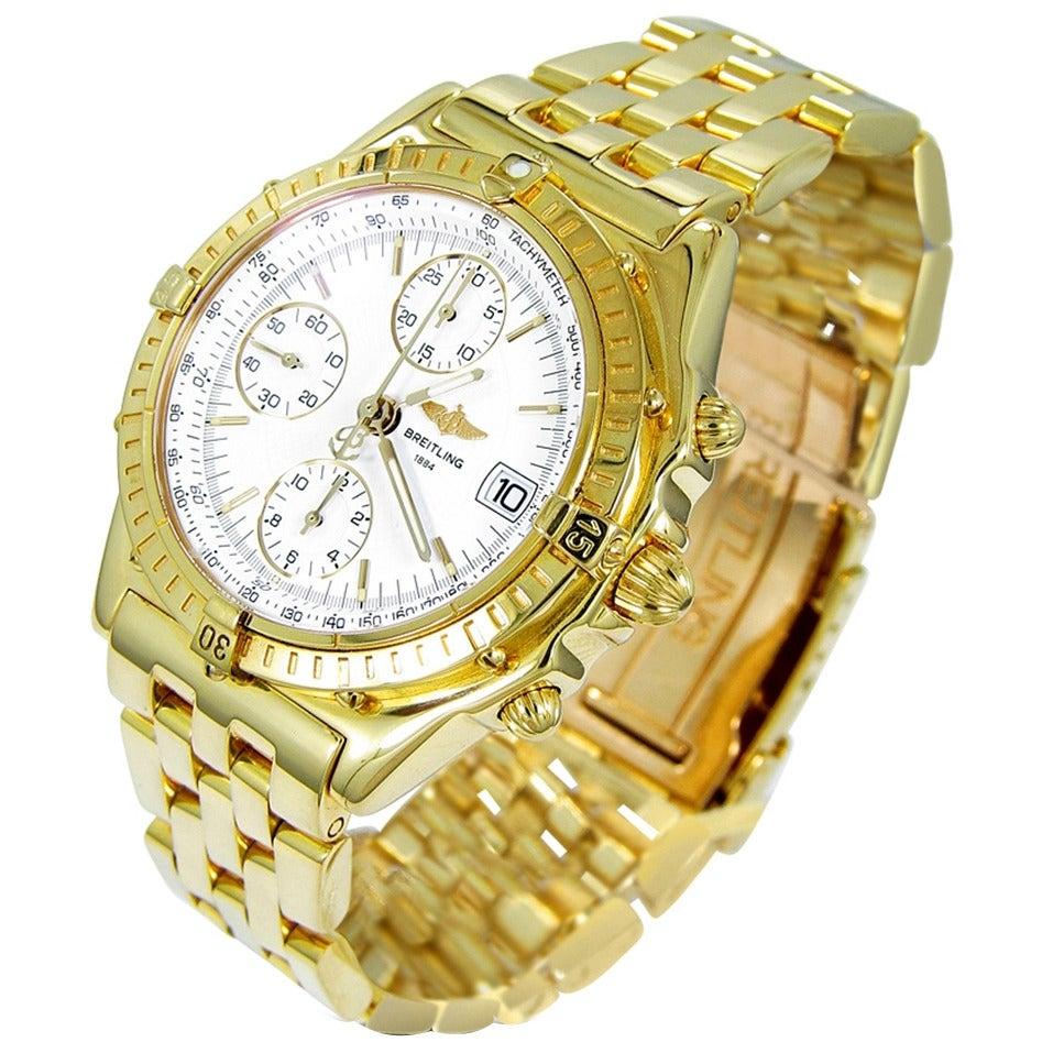 Breitling Yellow Gold Chronomat Date White Dial Wristwatch Ref K13050