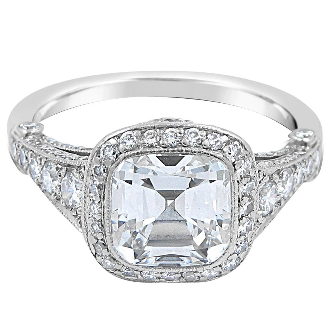 Tiffany and Co 2 51 Carat Cushion Cut Diamond Platinum Engagement Ring at 1s