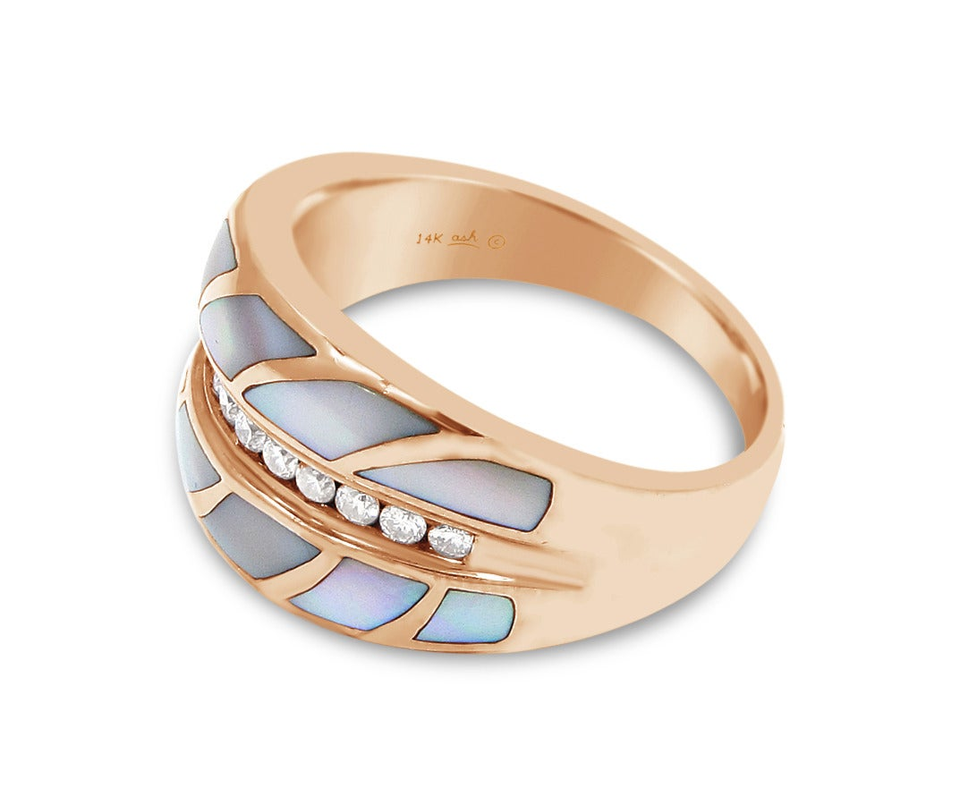 Here is a beautiful Asch Grossbardt ring. The opal inlay is in perfect condition and all diamonds are of great quality and very secure in its channel setting. This is a Rose Gold ring that sits at a size 11 but can be sized. The widest part of this