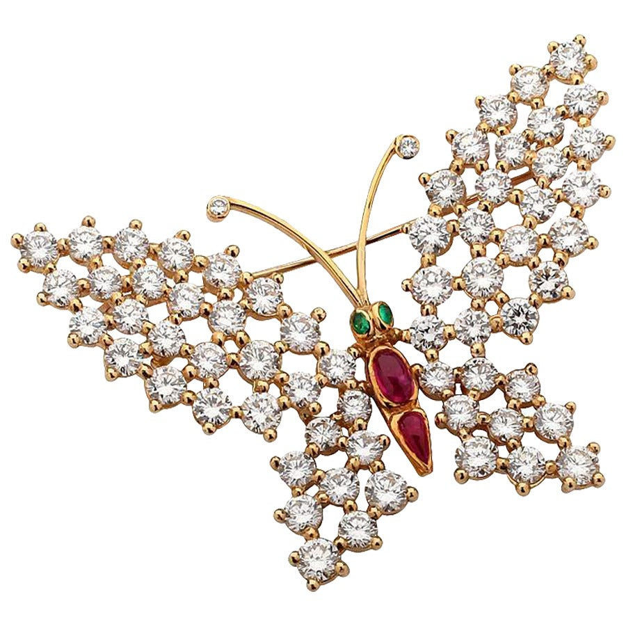 Beautiful Ruby Emerald Diamond Gold Butterfly Brooch