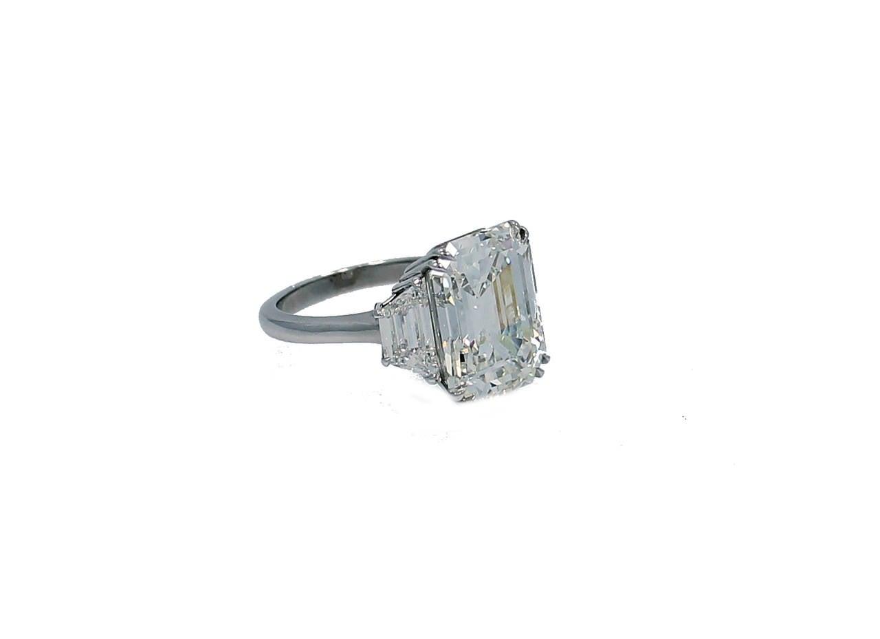 10.07 Carat GIA Report Emerald Cut Diamond Platinum Engagement Ring 2