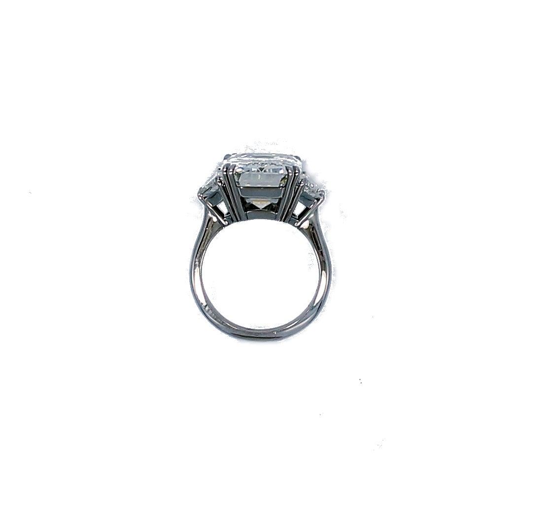 10.07 Carat GIA Report Emerald Cut Diamond Platinum Engagement Ring 4