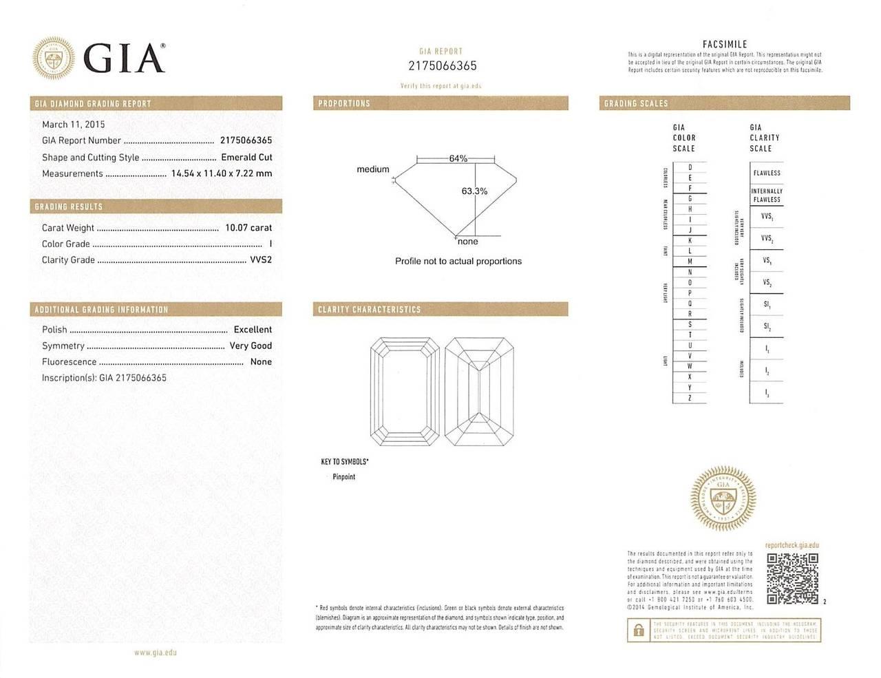 10.07 Carat GIA Report Emerald Cut Diamond Platinum Engagement Ring 5