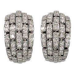 "Cartier ""Oriane"" Diamond Gold Half Hoop Earrings"