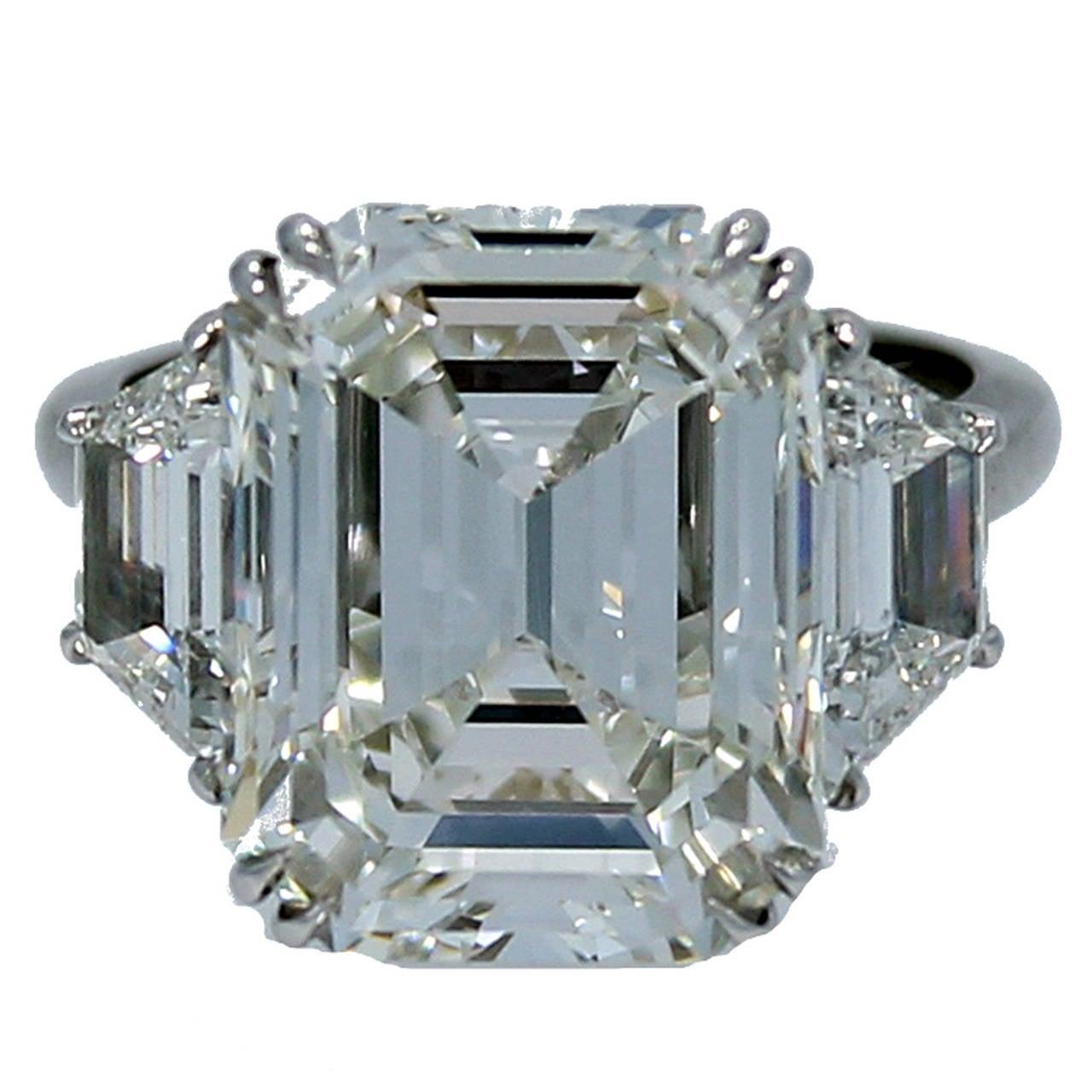 10.07 Carat GIA Report Emerald Cut Diamond Platinum Engagement Ring 1