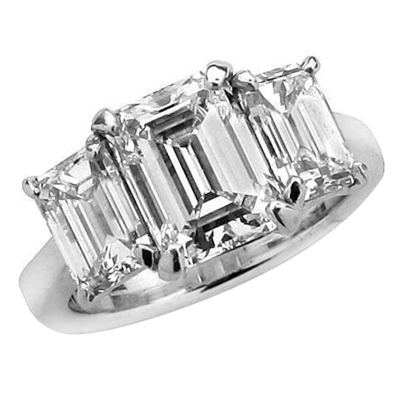 GIA Certified 2.45 Carat Emerald Cut Diamond Engagement Ring