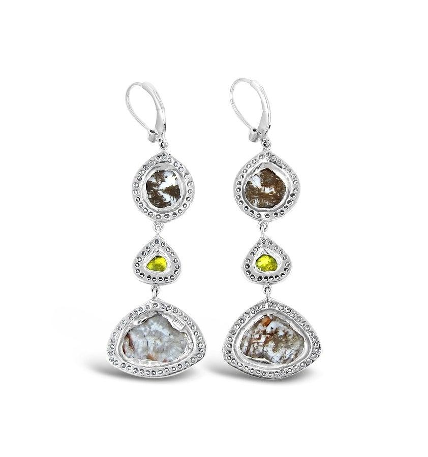 Dangle Diamond Slice Earrings 7.06tcw  in White Gold 2