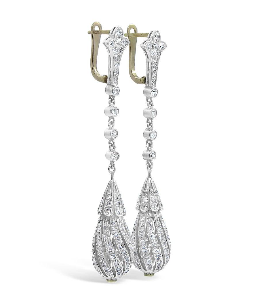 Vintage Diamond Dangle Earrings 2