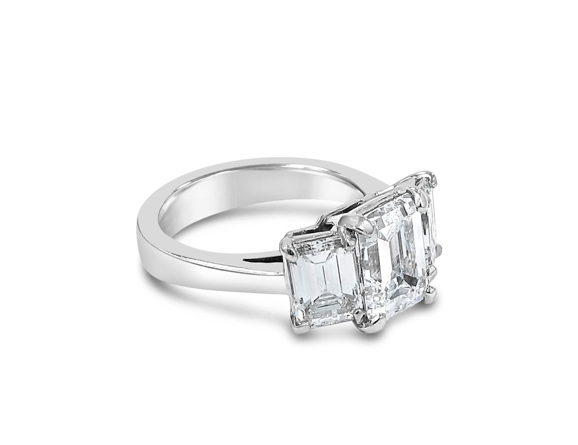 Emerald cut Three Stone Diamond Engagement Ring 2 45ct Center GIA Report For