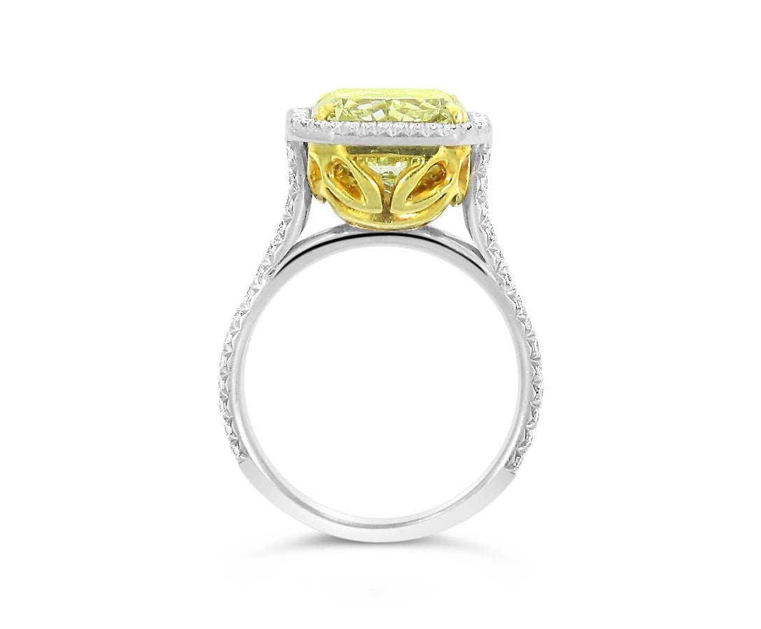 6 25ct Fancy Yellow GIA Report Diamond Engagement Ring in Platinum For Sale a