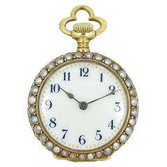 Lady's Yellow Gold Seed Pearl Pocket Watch