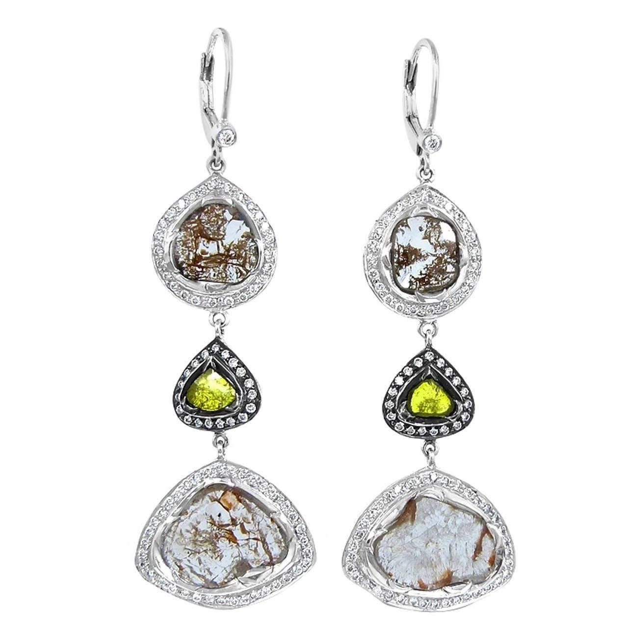 Dangle Diamond Slice Earrings 7.06tcw  in White Gold 1
