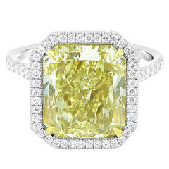 GIA Certified 6.25 Carat Fancy Yellow Diamond Engagement Ring