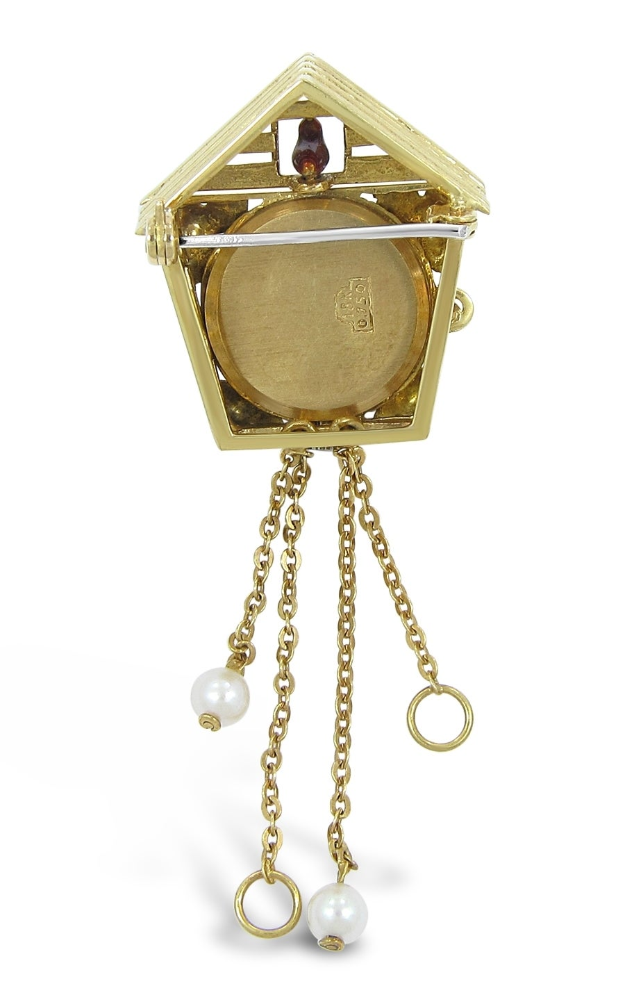 Ewys cuckoo clock watch brooch with enamel in yellow gold at 1stdibs - Cuckoo watches ...
