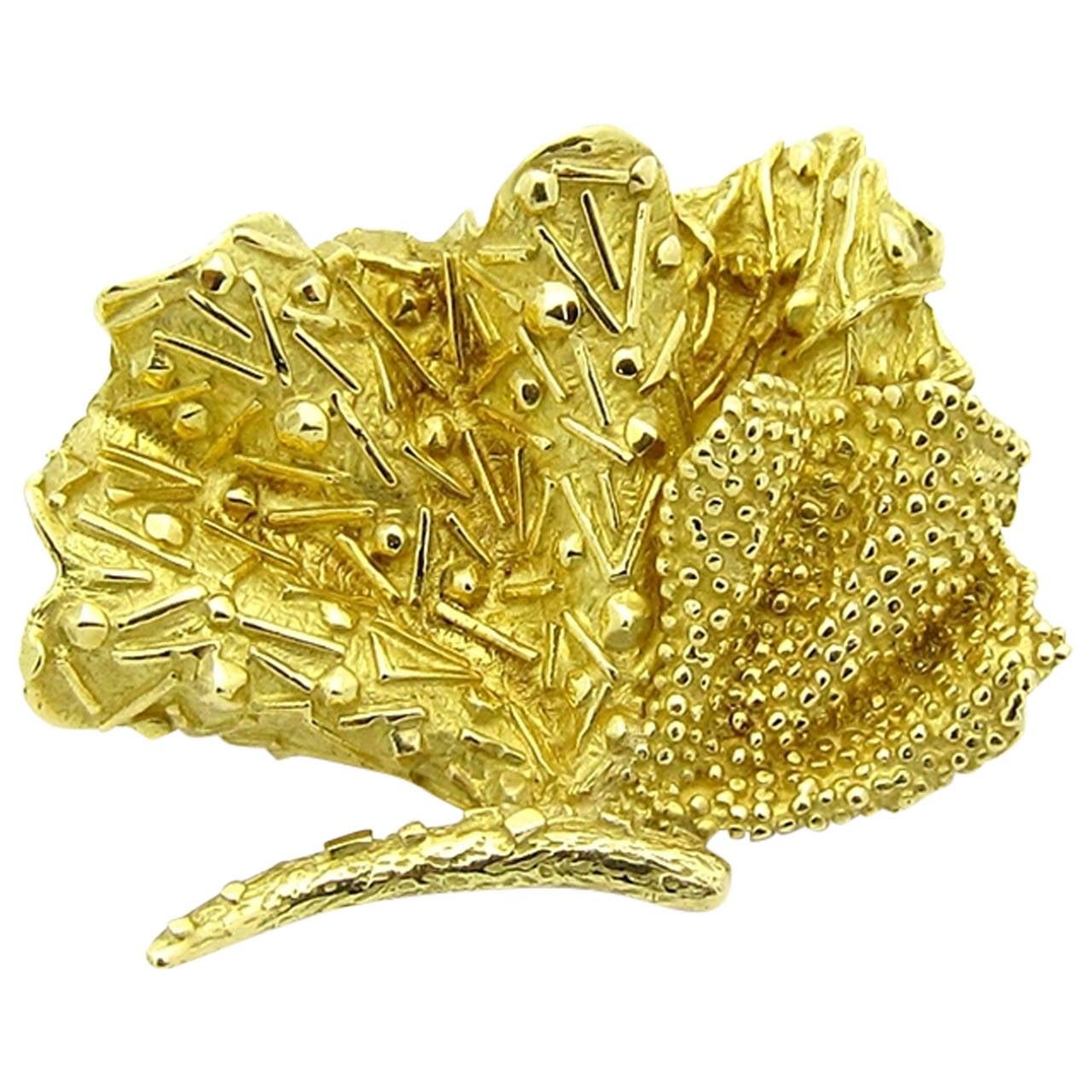 Tiffany & Co. Yellow Gold Sea Fan Brooch