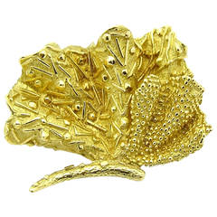 Tiffany & Co. Yellow Gold Sea Fan Brooch