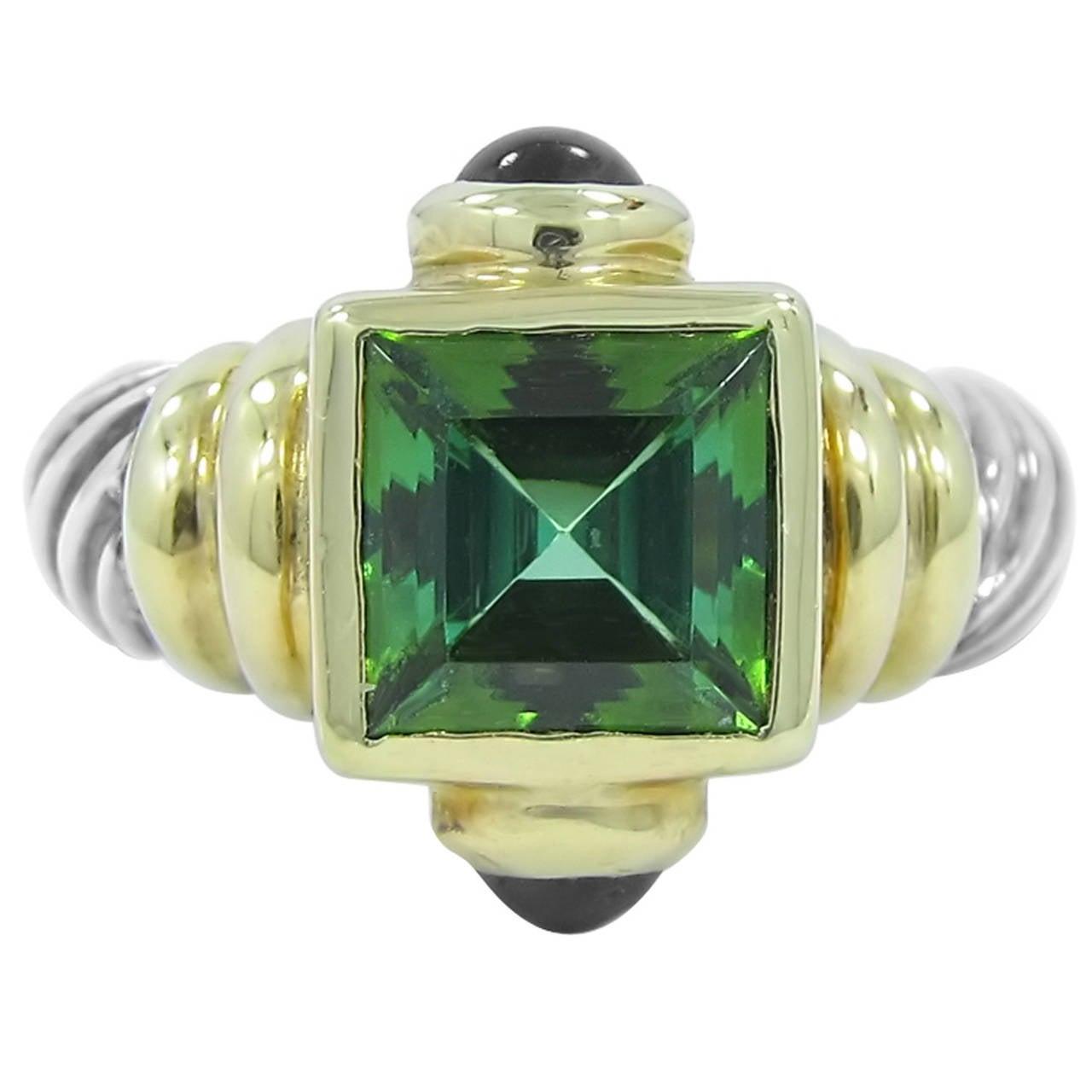 david yurman green tourmaline amethyst silver gold ring. Black Bedroom Furniture Sets. Home Design Ideas