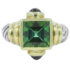 David Yurman Green Tourmaline Amethyst Silver Gold Ring