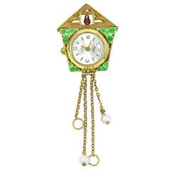 Ewys Cuckoo Clock Watch Brooch with Enamel in Yellow Gold