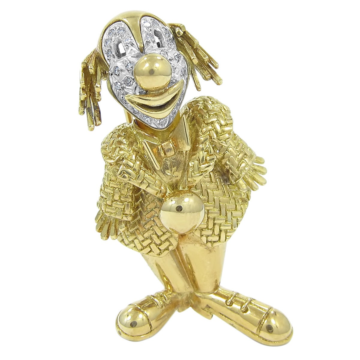Diamond Gold Clown Brooch For Sale