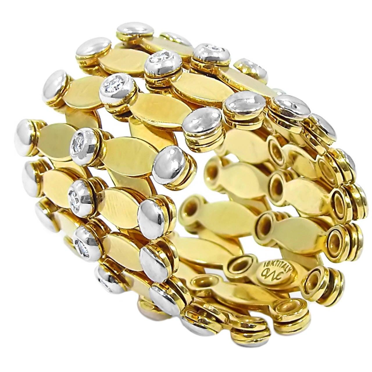 Gold Band Bracelet: Diamond Gold Expandable Bracelet/Ring For Sale At 1stdibs