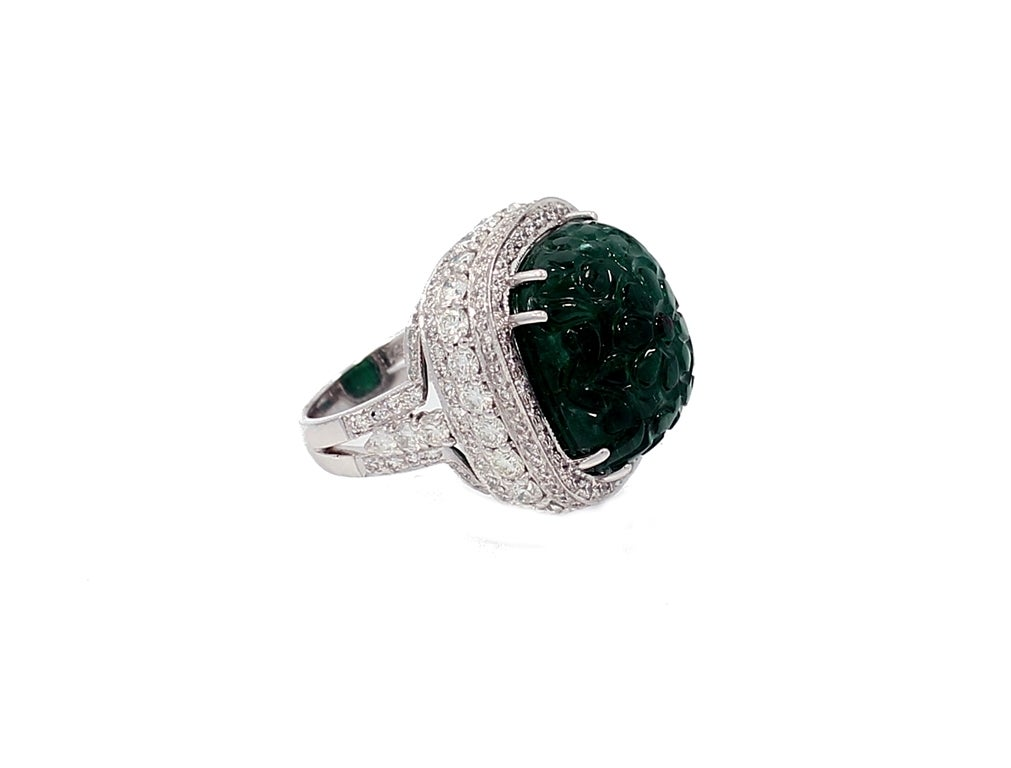 27 99 carat zambian carved emerald ring at 1stdibs