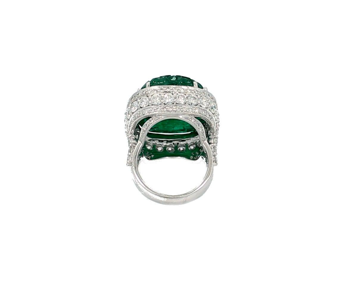 27 99 carat zambian carved emerald ring at 1stdibs