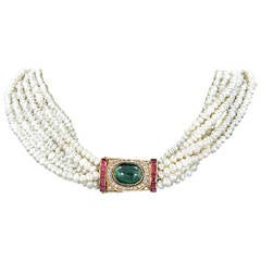 Six Strand Pearl Necklace with Ruby Emerald Diamond Gold Clasp