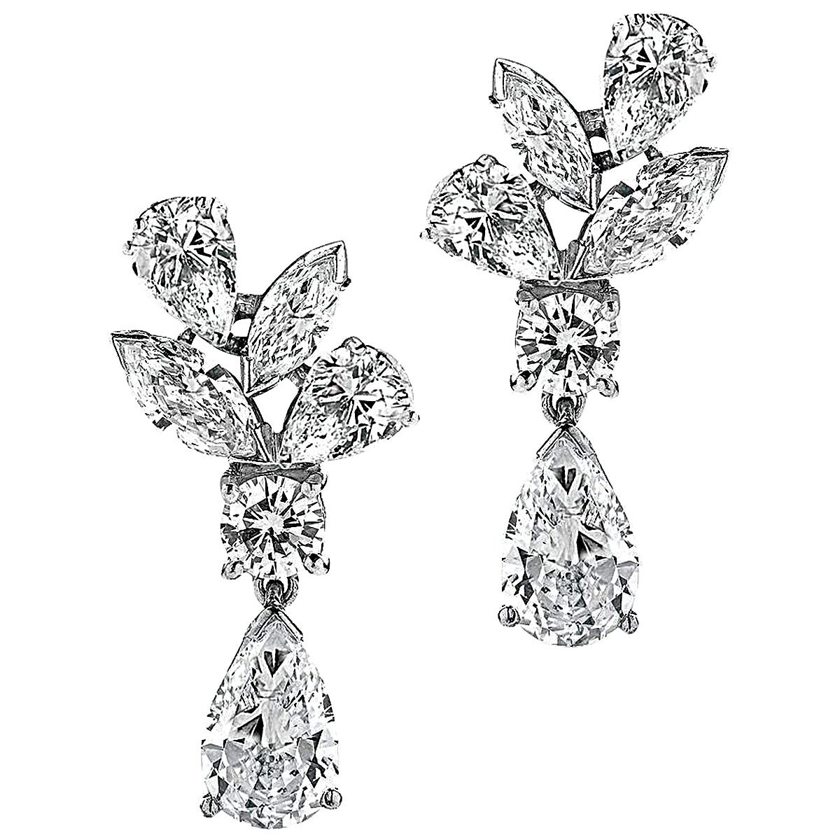 Pear and Marquise Shaped Diamond Platinum Dangle Earrings For Sale