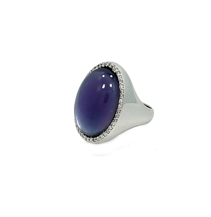 Roberto Coin Lapis Mother-of-Pearl Amethyst Gold Cocktail Ring 2