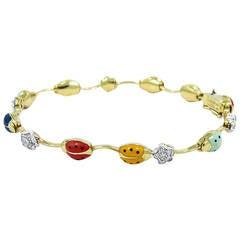 Aaron Basha Enamel Diamond Gold Ladybug Bracelet