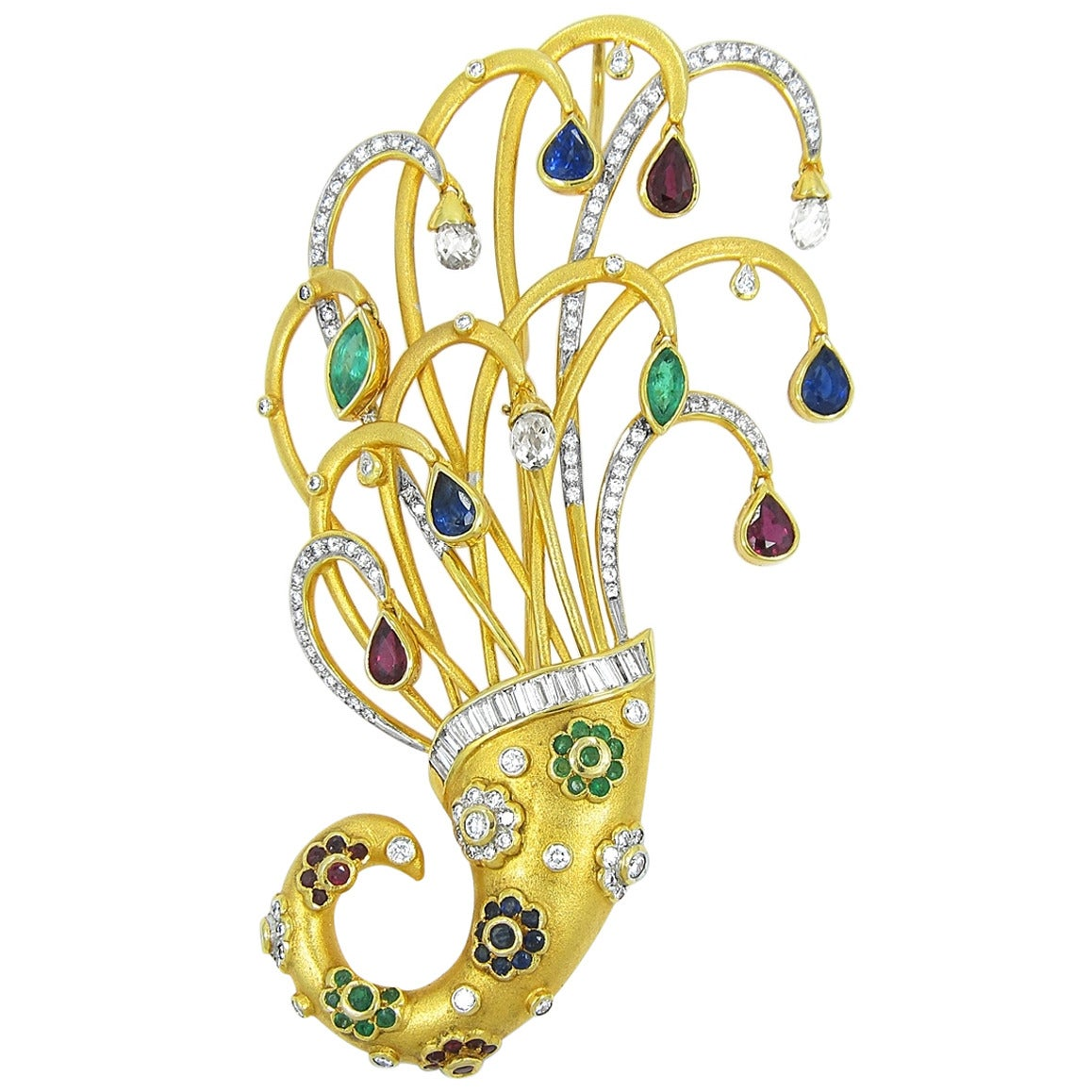 Sapphire Ruby Emerald Diamond Gold Cornucopia Brooch/Pin