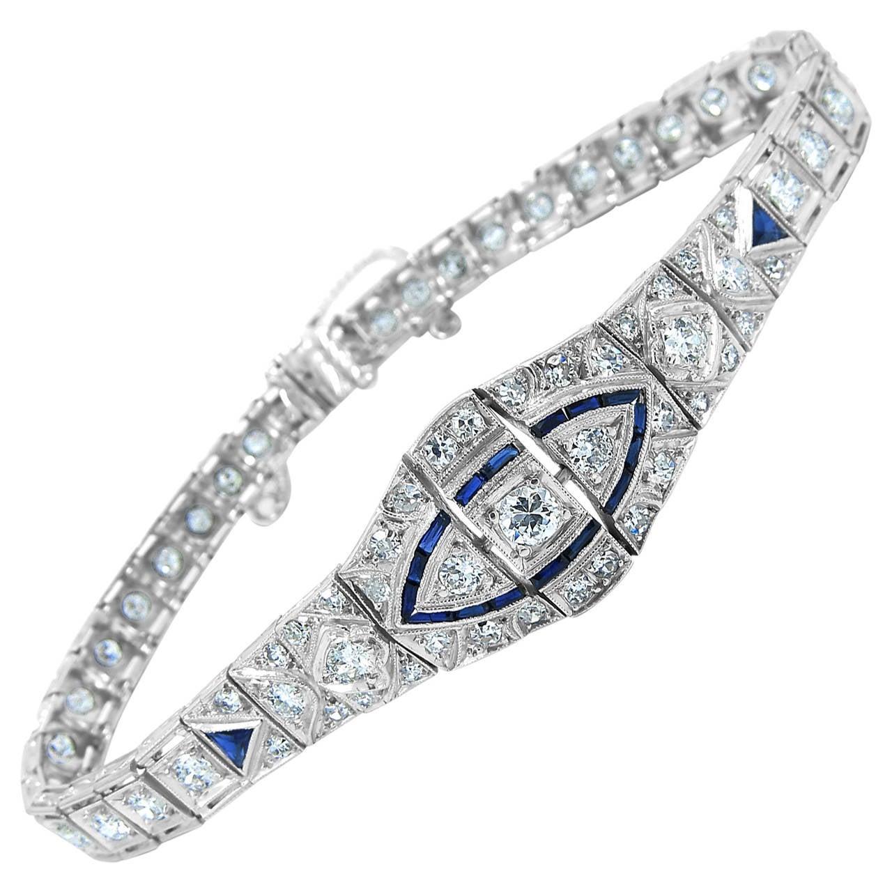 Sapphire Diamond Platinum Link Bracelet
