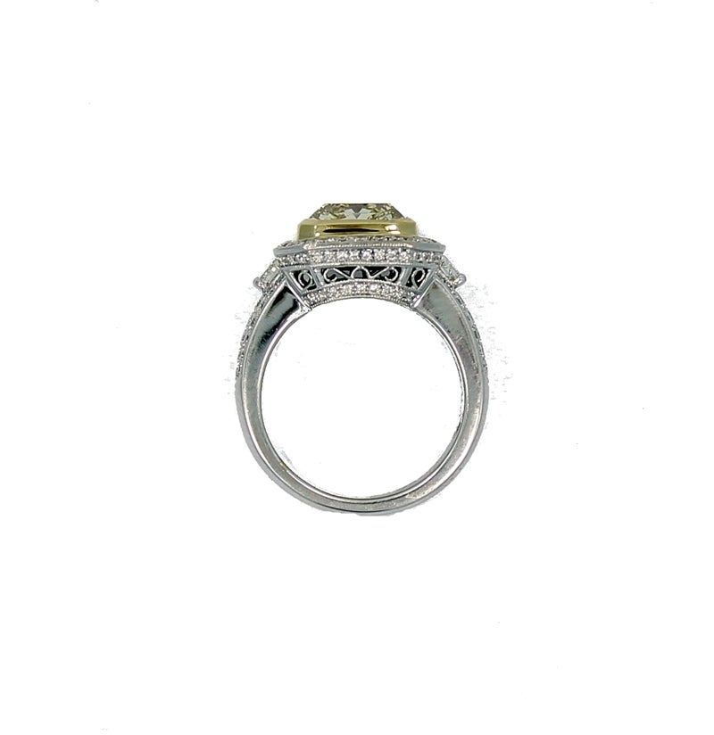 4 05 carat cert radiant light yellow gold