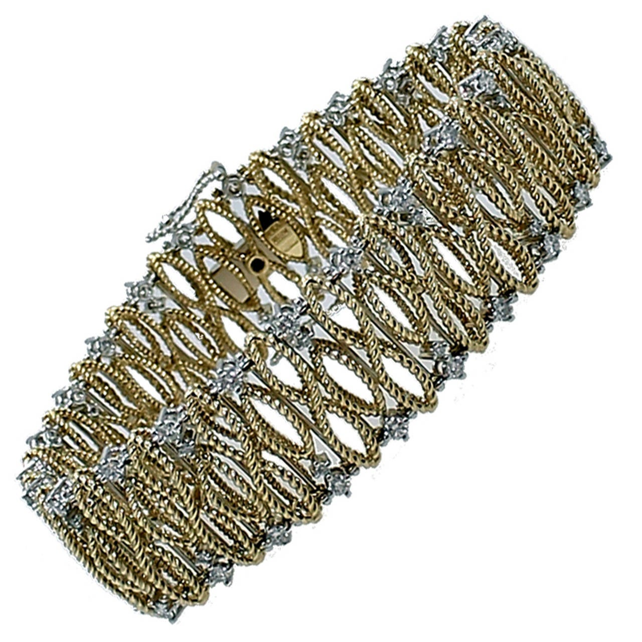 Roberto Coin Diamond Gold Barocco Bracelet For Sale