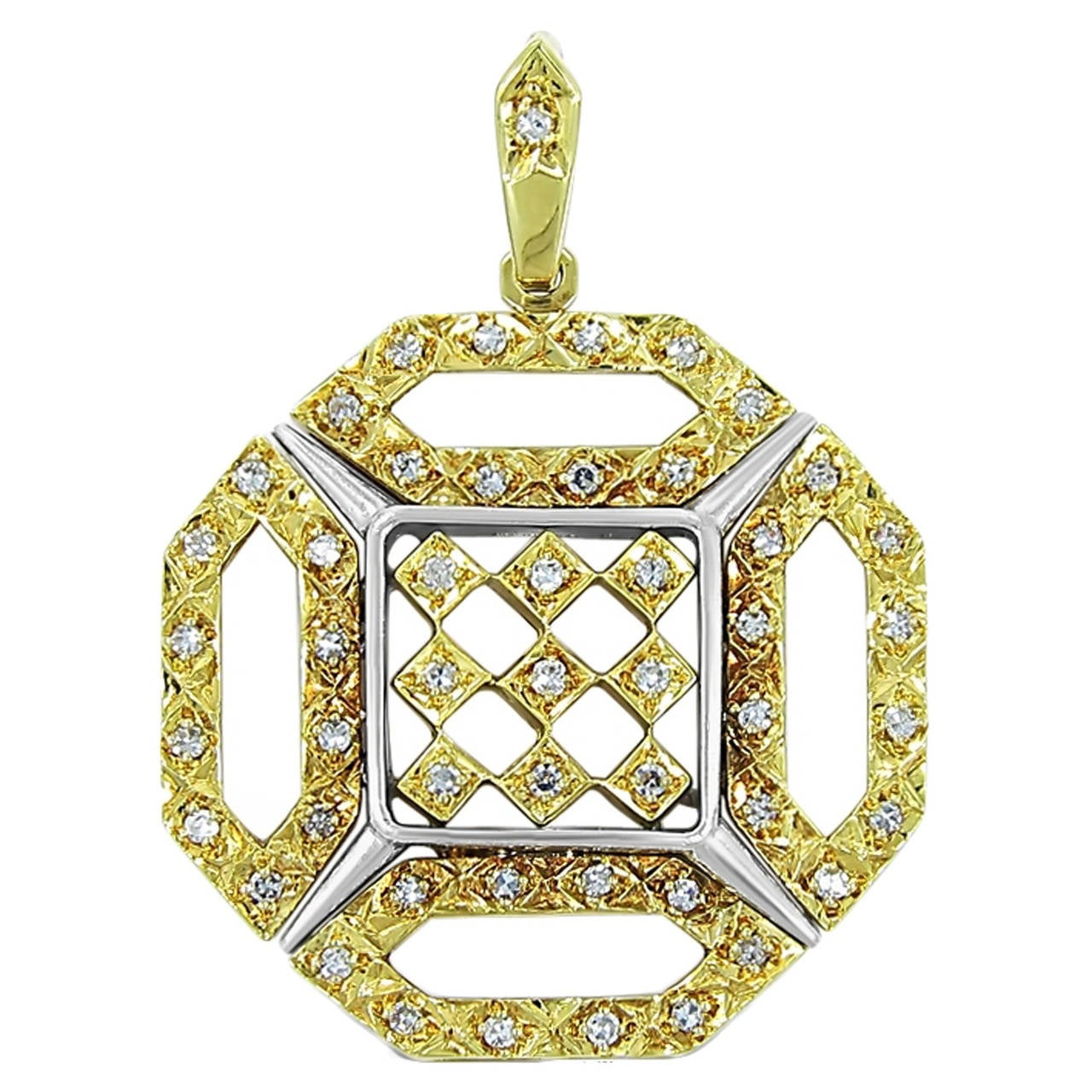 Octagonal Diamond Two Color Gold Pendant