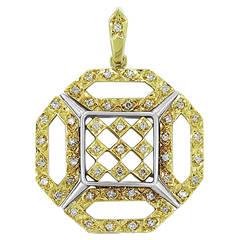 Octagonal Diamond Two Color Gold Pendant