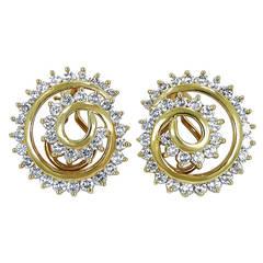 Diamond Gold Open Swirl Clip On Earrings