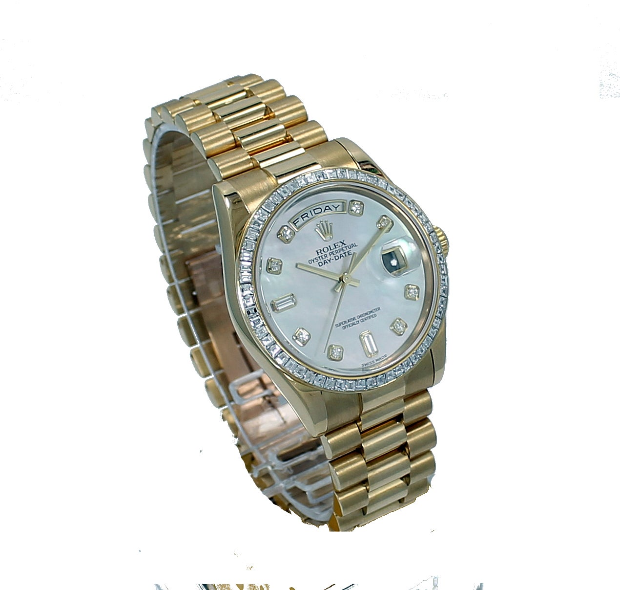 Rolex Yellow Gold Diamond Bezel Day-Date President Wristwatch In As New Condition For Sale In Naples, FL