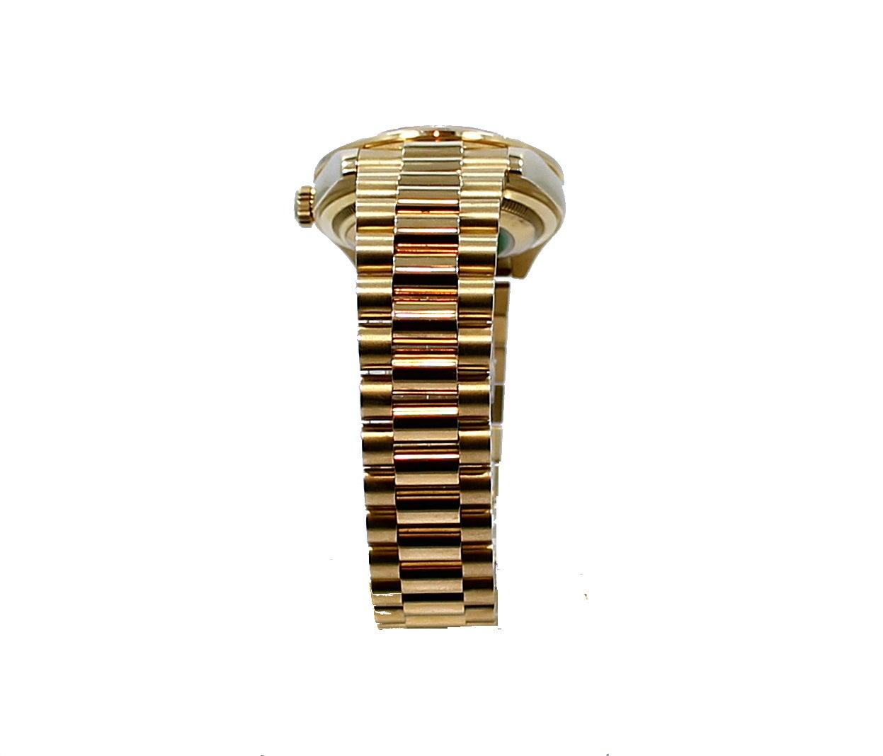 Women's or Men's Rolex Yellow Gold Diamond Bezel Day-Date President Wristwatch For Sale