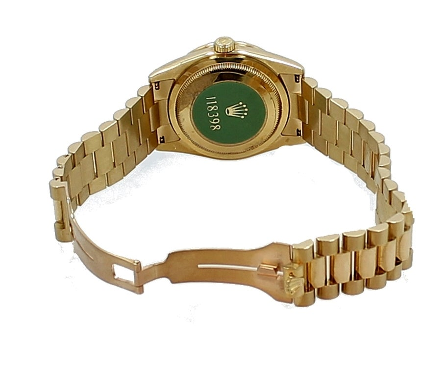 Rolex Yellow Gold Diamond Bezel Day-Date President Wristwatch For Sale 1