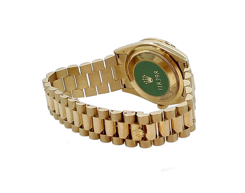 Rolex Yellow Gold Diamond Bezel Day-Date President Wristwatch For Sale 3